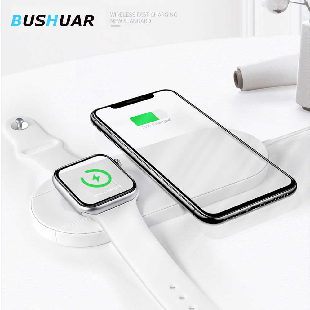 10W QI Wireless Charger for iPhone X XS MAX 8 plus Fast Charging Pad 2 in 1 Desktop Charger For apple watch 4 3 Samsung S10 S9