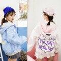 Harajuku BF Doble Capa de Desgaste Viento Estudiantes Femeninos de Corea marea Chaqueta Cazadora Reversible Del Todo-Fósforo