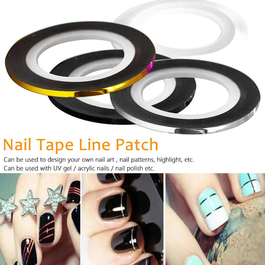 1 Buah Alat Manikur Alat 1 Mm 2 Mm 3 Mm Kecantikan Roll Stripping Stiker Foil Kuku Seni Tape Line DIY Baru Perak/Emas/Hitam/Putih