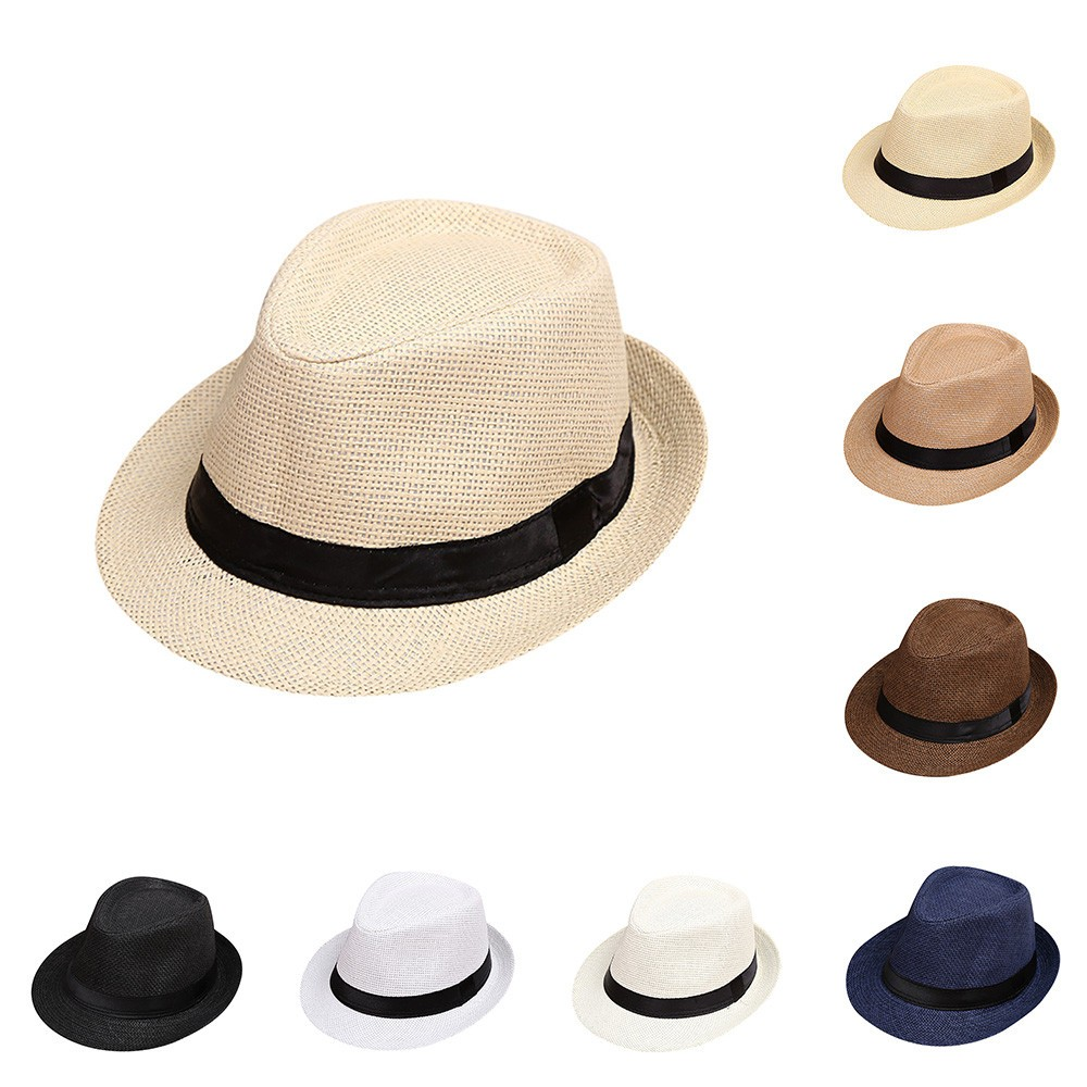 Baby Summer Hat Children Kids Summer Beach Straw Hat Jazz Panama Trilby  Fedora Hat Gangster Cap Gorro Nino-in Hats   Caps from Mother   Kids on ... d8257a255be2