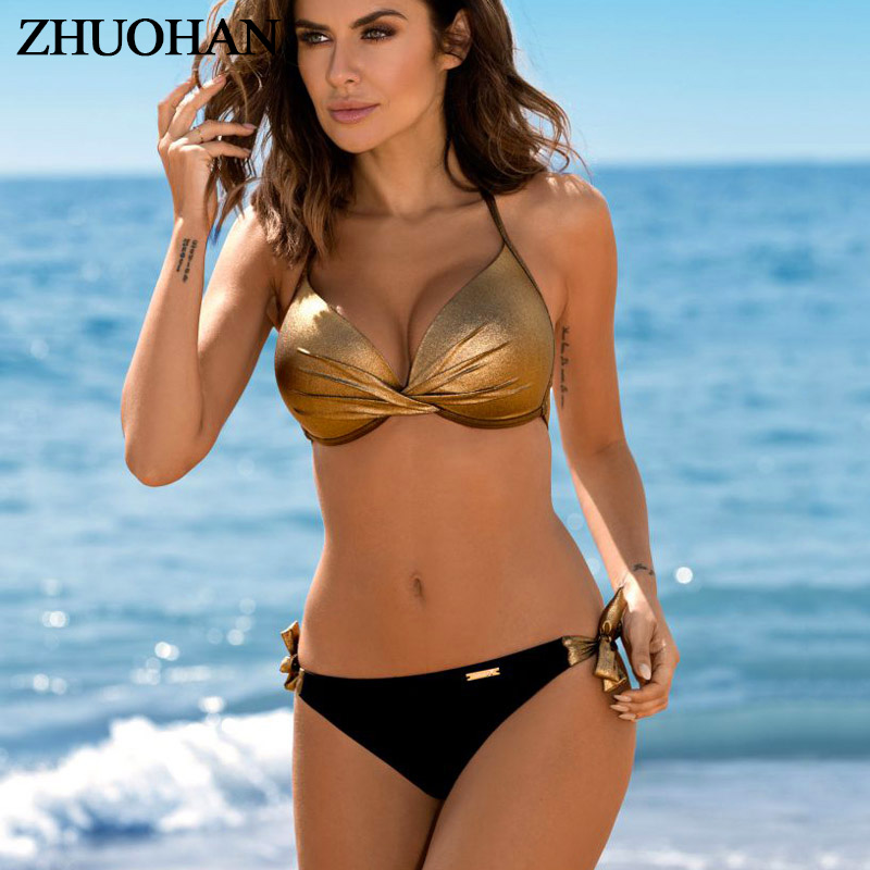 Bikinis 2019 Plus Size Swimwear Women Sexy Halter String Shiny Bordered Bathing Suit Push Up Swimsuit Lace Up Twist Bikini Set(China)