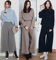 2017 Primavera 2 peça set mulheres Cropped top e calças conjuntos de roupas Terno Feminino Marca de Moda de Nova