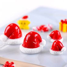 1PCS Christmas Hat Snowman Fence Door Cow Miniature Figurine Home Decoration Cartoon Statue Bonsai Ornaments Resin Craft(China)