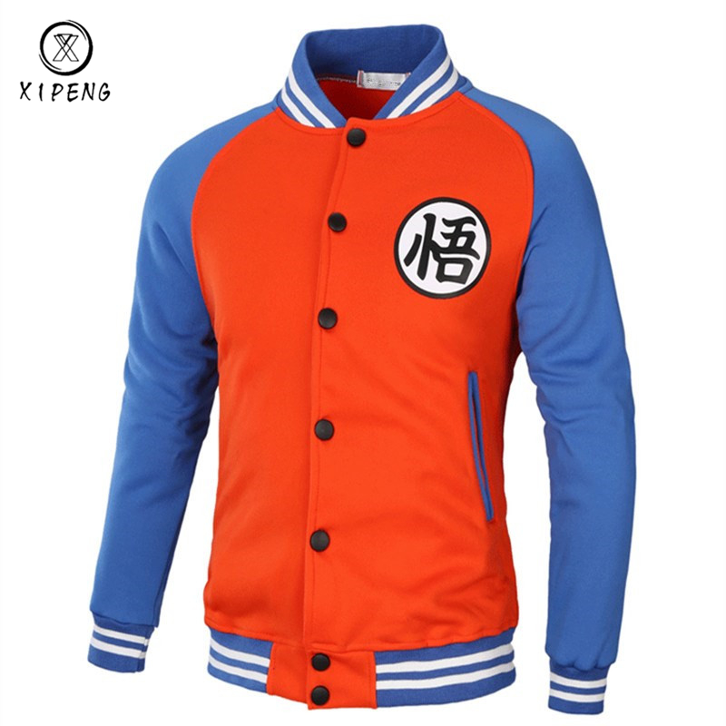 Brand <font><b>Dragon</b></font> <font><b>Ball</b></font> <font><b>Z</b></font> Hoodie Sweatshirt Cosplay <font><b>Jackets</b></font> Men hoodie <font><b>Goku</b></font> Kame Symbol Varsity Baseball <font><b>Jacket</b></font> Men Tracksuits 3XL image