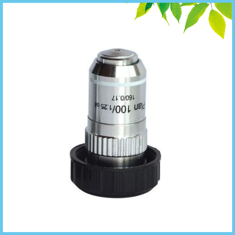 195 Biological Microscope 100X Plan Achromatic Objective Lens 2 pcs 100x plan achromatic objective lens for biological microscope objective with spring and oil din160 0 17