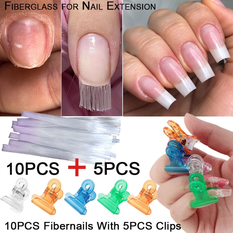 10pcs Fiberglass For Nail Extension Fibernails Acrylic Tips Manicure Salon Tool Curvature Clips With 5pcs Pinchers Nail Kit