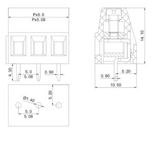 Image 2 - 100 stks KF128 5.0 3P PCB Schroef Blokaansluiting KF128 3P KF128 Schroef 3Pin Pitch 5.0mm Rechte Verbinding klemmenblok