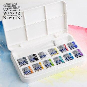 12 kolory WINSOR & NEWTON Stałe Akwarela Farby wysokiej jakości Malarz Wody kolor pigmentu Sztuki Rysunek Dostaw