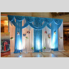 3*4m Wedding Party Ice Silk Fabric Drapery White Tiffany Blue Color With Swag Stage Prop Fashion Drape Curtain Backdrop
