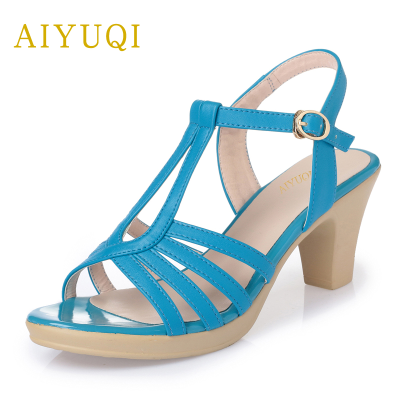 AIYUQI 2018 summer new genuine leather high-heeled female sandals wild open-toed fish mouth fashion handmade brand shoes women 2018 new summer women genuine leather sandals fish mouth high heeled waterproof platform mesh hollow fashion sandals shoes women