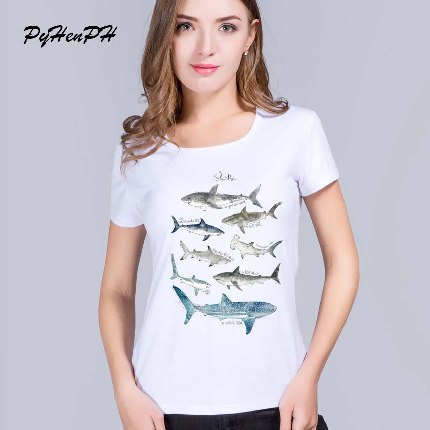 2017 Fashion Shark  Print Women T-shirts Original Whale Design T-shirts Women Fishes Casual Short Sleeve Hipster Tops