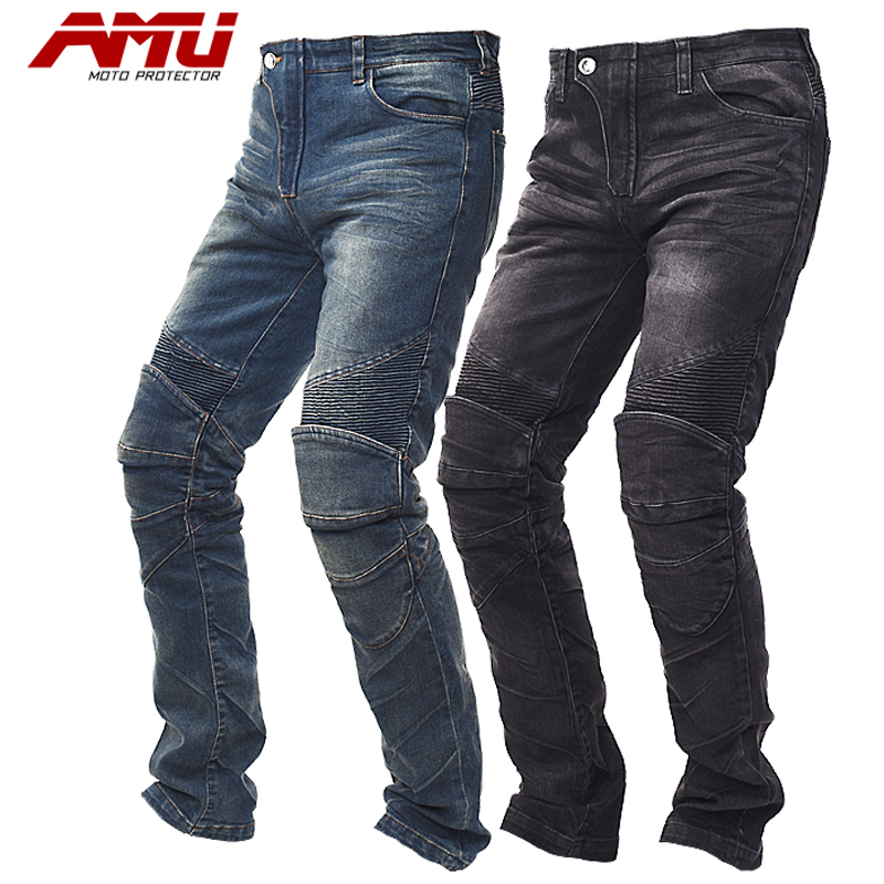 AMU High quality Men Motorbike Motocross Off Road Moto Denim Jeans Trousers Motorcycle Racing Jeans Casual