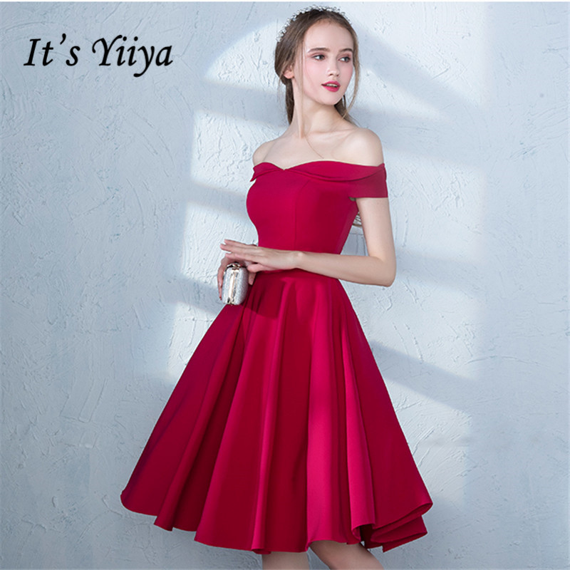 It's YiiYa 2018 Popular R Off The Shoulder Fashion Designer Elegant Cocktail Gowns Knee Length Cocktail Dress LX385