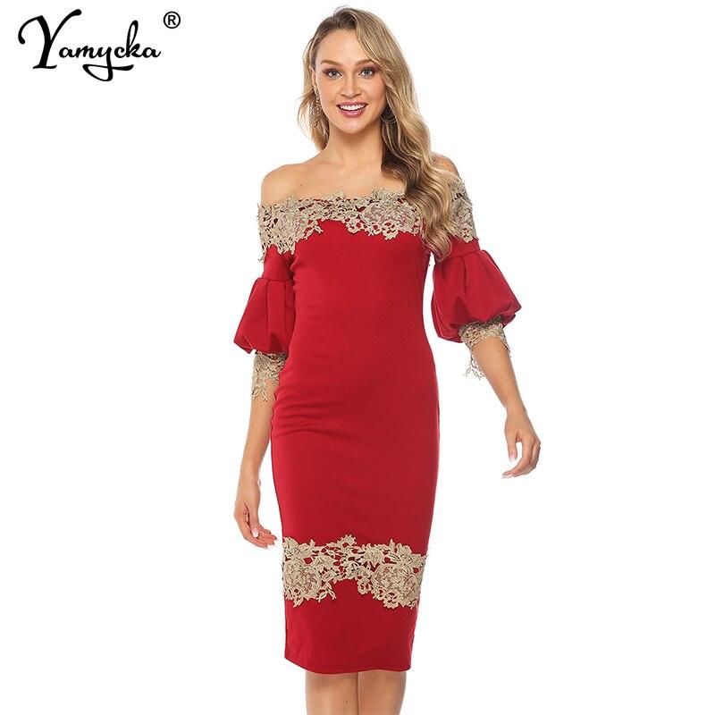 Sexy Red Slash neck Lace summer Dress women Elegant Lantern Sleeve Vintage dress Night club party bodycon dresses vestidos New