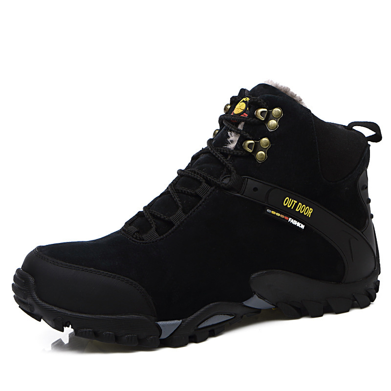 Winter Male Shoe Climbing Shoes Shoes Help Increase Thickening Keep Warm Outdoors Suede Leather Shoe A Piece Of Hair