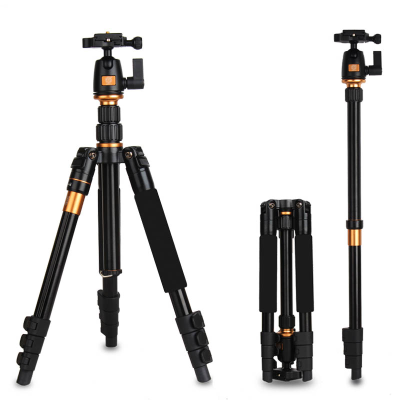 QZSD Q555 Professional Aluminum Tripod for Canon Nikon Sony DSLR SLR Camera with Ball Head Max loading 8KG Tripod to Monopod original weifeng wf 6662a ball head camera tripod with carrying bag for canon nikon dslr slr