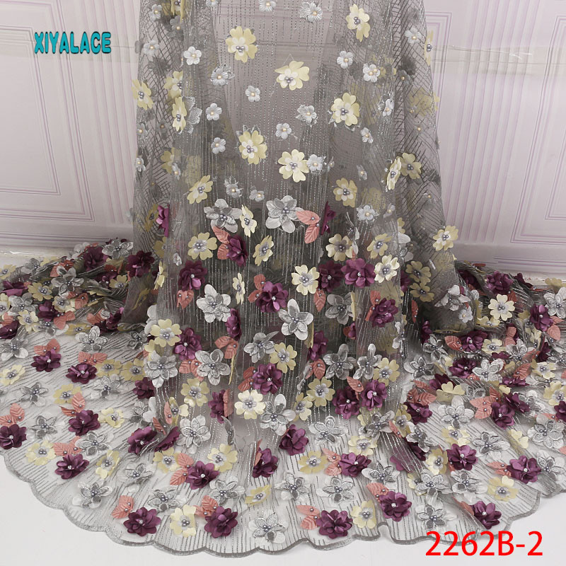 Nigerian Beaded Lace Fabric 2019 High Quality African 3D Net Lace Fabric Wedding French Tulle Lace Material For Dress YA2262B-2