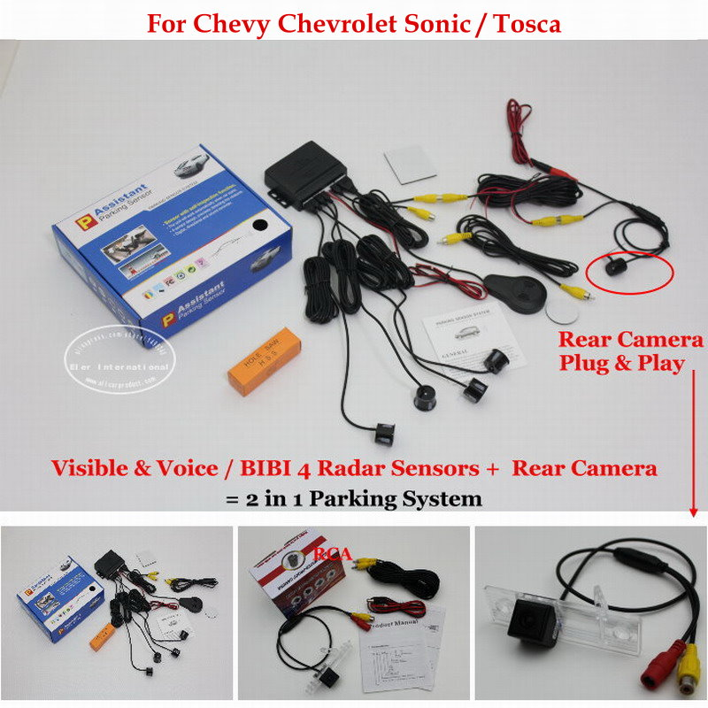 Car Parking Sensors + Rear View Back Up Camera = 2 in 1 Visual /BIBI Alarm Parking System For Chevy Chevrolet Sonic / Tosca 3157 3156 60w 600lm 6500k 12 smd white light led steering brake light for car dc12 24v