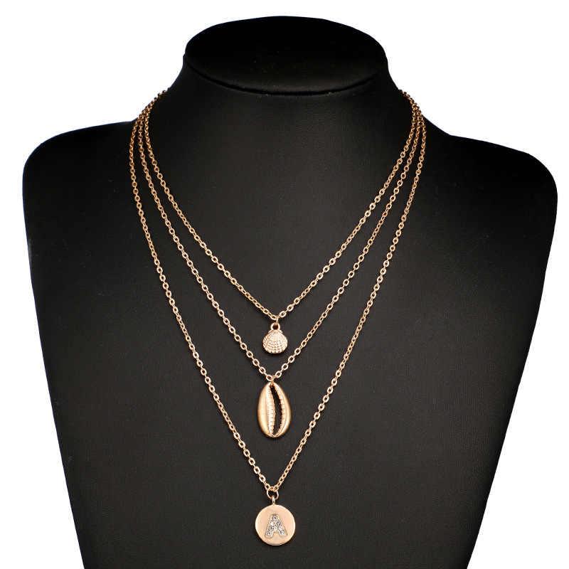 แฟชั่นคริสตัล shell Necklaces & จี้ยาวสร้อยคอ Chokers สร้อยคอ Multilayered ผู้หญิง Collier Fleurs