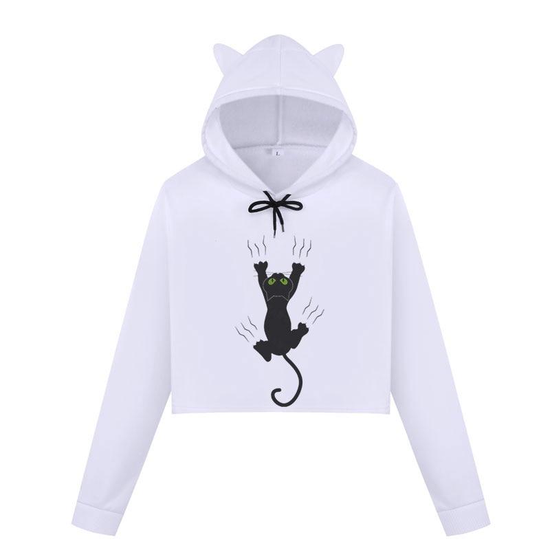 Womens Cat Sweatshirts Hoodies Crop Tops 1