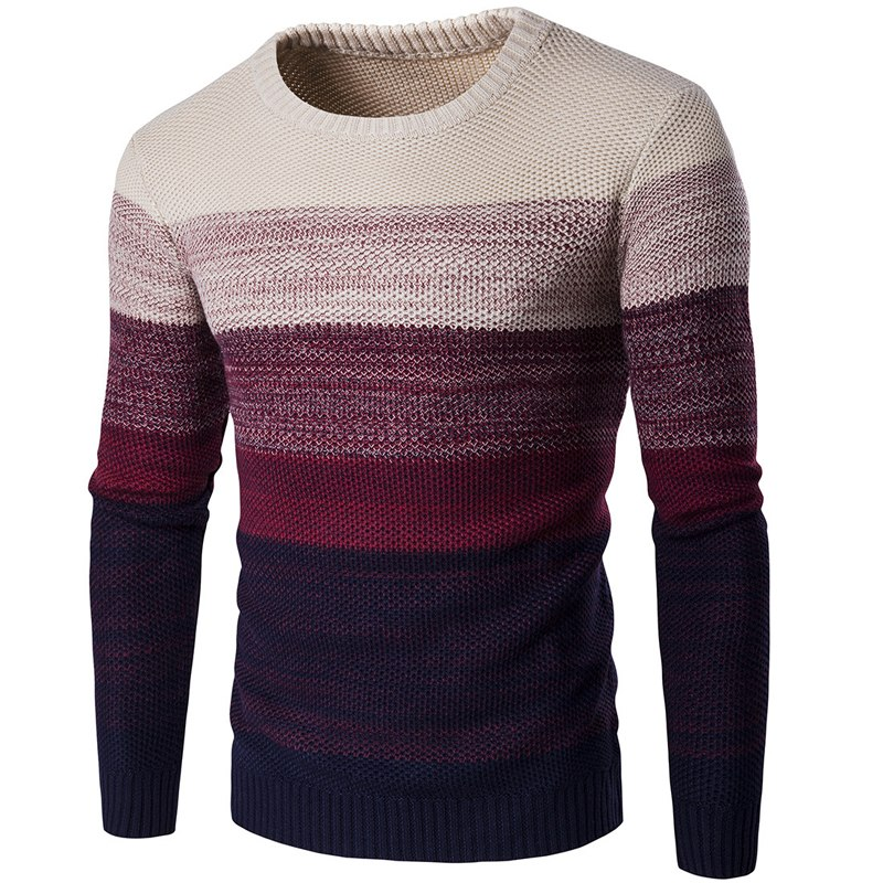 WENYUJH New Autumn Winter Brand Casual Sweater O-Neck Striped Slim Fit Men Long Sleeve Pat