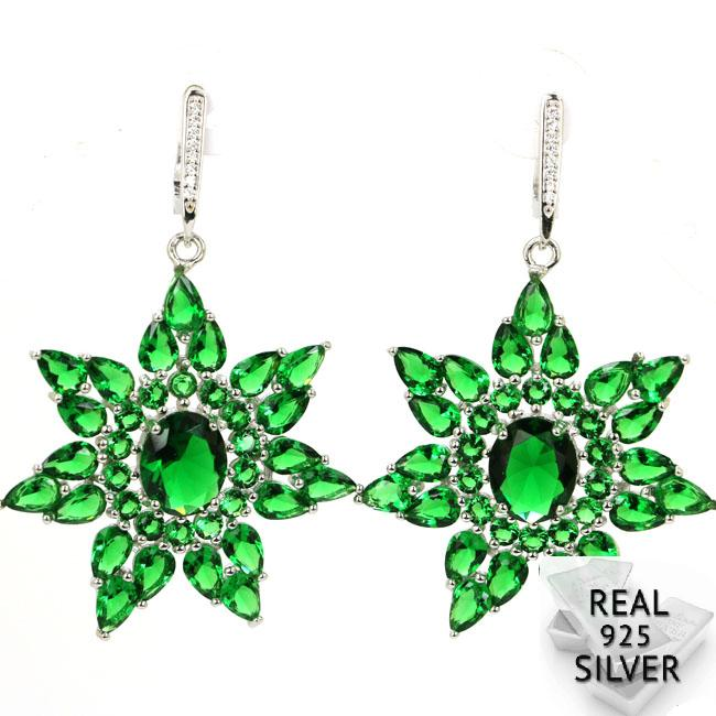 Real 13.9g 925 Solid Sterling Silver Luxury Big Star Shape Green Emerald Womans Earrings 58x37mmReal 13.9g 925 Solid Sterling Silver Luxury Big Star Shape Green Emerald Womans Earrings 58x37mm