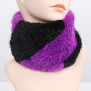 Image 5 - Women Winter Real Mink Fur Ring Scarves Good Elastic Knitted Genuine Mink Fur Scarf Thick Warm Lady Natural Fur Headband Shawl