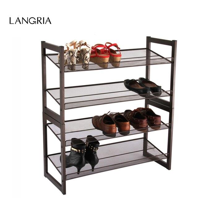 LANGRIA Brand New 4 Tier Metal Mesh Shoe Rack Bronze Keep Your Shoes ...