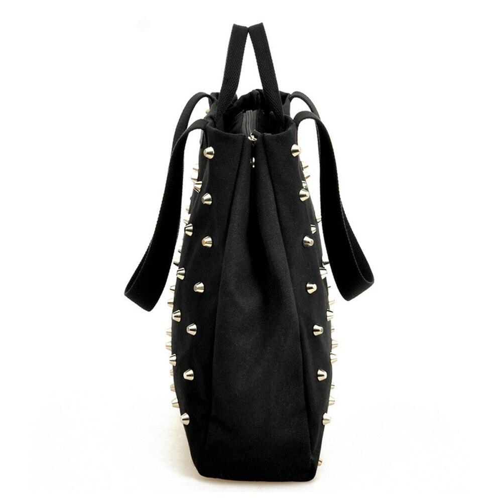 Borsa Borse Bag Casuale Retrò Femminile Nuove Tela Tote Shopping Tracolla Donne Nero Rivetto Modo Di Portatile Hangbag Il Bolsa A ZYww4xzqt