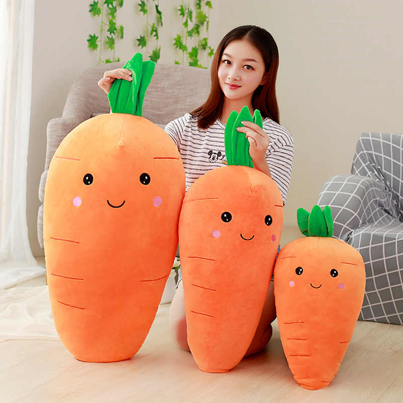 1pc Big Cretive Simulation Carrot Plush Toy Super Soft Carrots Doll Stuffed with Down Cotton Pillow Cushion Best Gift for Girl