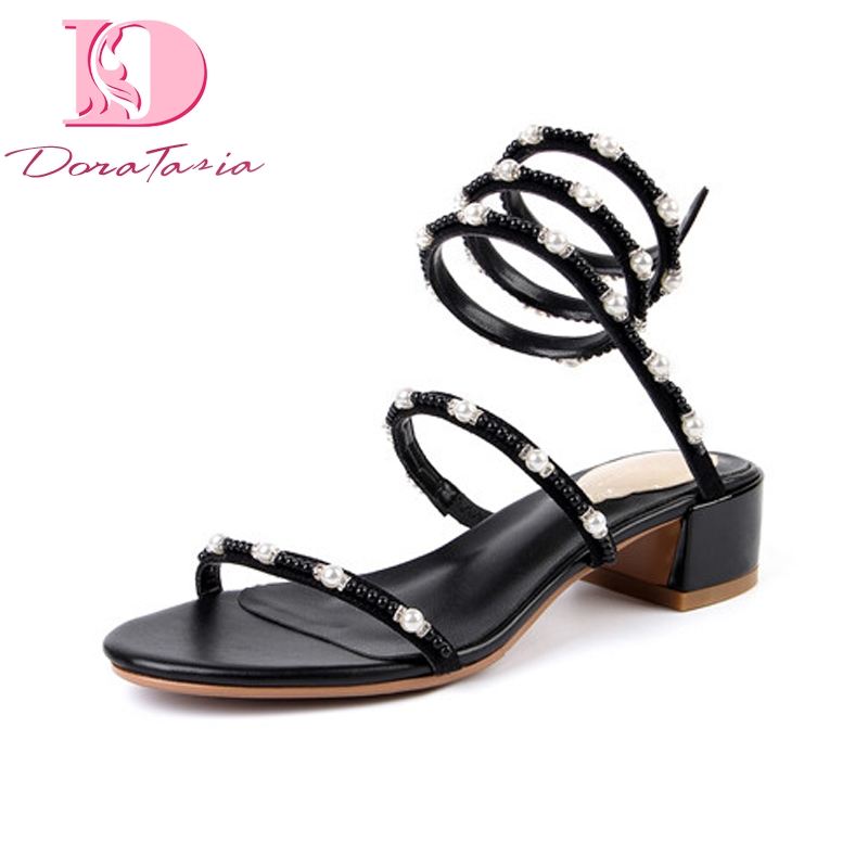 DoraTasia Brand Design Kid Suede Square Med Heels String Bead Solid Top Quality Shoes Woman Casual