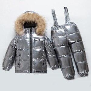 Image 3 - Rosja nowe zimowe zestawy ubrań dla dzieci chłopcy i dziewczęta biały puchowy kombinezon narciarski gruby 30
