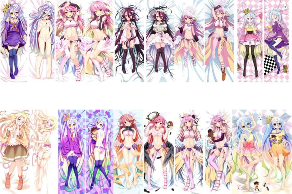 August Update Anime NO GAME NO LIFE Characters sexy girl Shiro & Jibril Dakimakura pillow cover hugging body pillow case