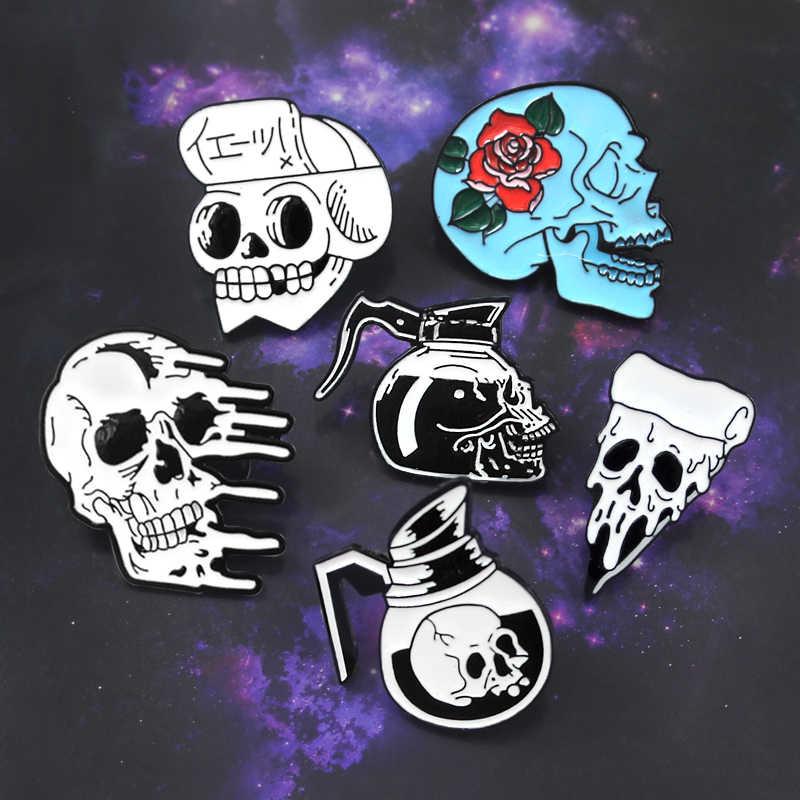 d17e0ec77d9 Skeleton Punk Brooch Rose Skull Coffee Pot Pizza Mucus Japanese Samurai  Ninja Enamel Pin Denim Leather