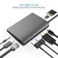 Amkle 9 in 1 USB Hub Multifunction USB C Hub with Type C 4K Video HDMI Gigabit Ethernet Adapter USB 3.1 USB C Type C3.1 HUB