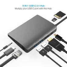 Amkle 9 trong 1 USB Hub Đa Năng USB-C HUB Type-C 4K Video HDMI Gigabit ethernet Adapter USB 3.1 USB Loại C C3.1 HUB(China)
