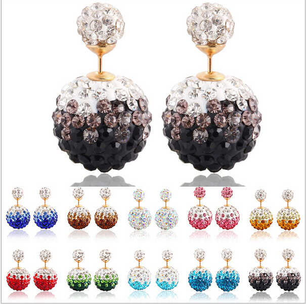 Terbaru Bunga Ganda Bola Natal Earrings Wanita Kristal Mewah Anting fashion wanita Pejantan Anting