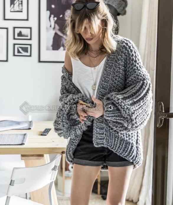 핑크 거친 니트 스웨터 여성 2020 겨울 패션 랜턴 슬리브 카디건 여성 오픈 프론트 한국 스웨터 코트