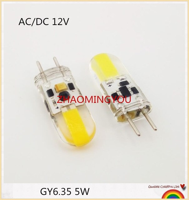 DIMMABLE GY6.35 LED Lamps 5W AC/DC 12V Corn Light Bulb Droplight Chandelier 1505 G6.35 COB Led Bombillas White/Warm white Lamp