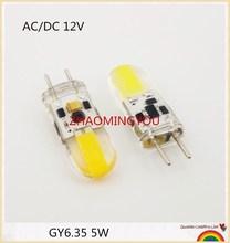 Lâmpadas de led gy6.35 reguláveis, 5w, ac/dc, 12v, luz milho, droplight, cob 1505 g6.35, led bombillas luz branca/branca quente