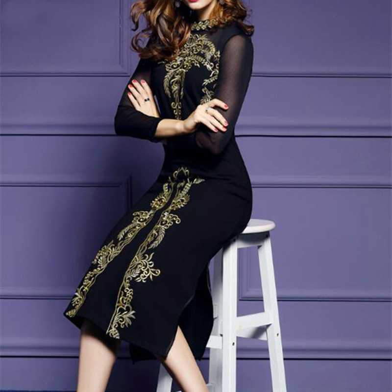 Fashion embroidery spring new women dress high waist work slim pencil open fork sexy office lady s female