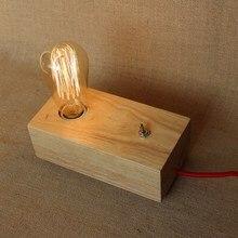 Vintage Oak wooden North Europe Style modern bedside Table Lamp E27 Lights Industrial for study bedroom living room