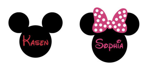 Muurstickers Mickey Mouse Minnie Mouse Gepersonaliseerde Naam Oren