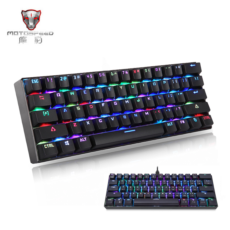 цена на MOTOSPEED CK61 Wired Mechanical Keyboard RGBLED Backlight 61 Keys USB 2.0 Kailh BOX Blue Switches Gaming Keyboard for PC Desktop