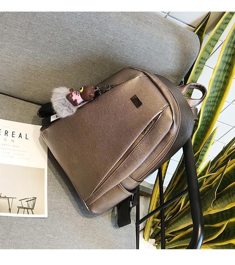 HTB1Jo56a.rrK1RkSne1q6ArVVXaZ Fashion Gold Leather Backpack Women Black Vintage Large Bag For Female Teenage Girls School Bag Solid Backpacks mochila XA56H