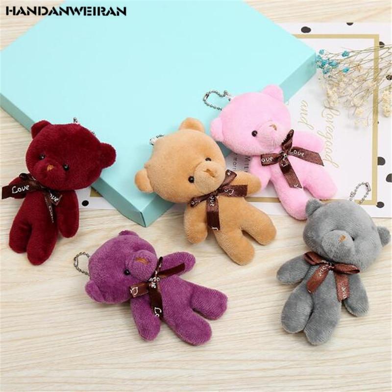 1 pçs mini pelúcia urso siameses brinquedos pingente de algodão pp macio recheado ursos nus brinquedo buquê boneca presente do feriado 12 cm handanweir