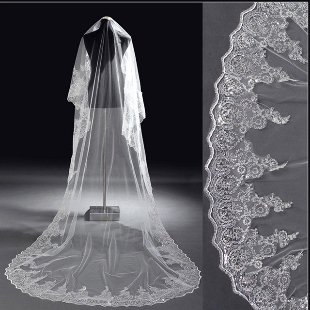 Appliques Lace Edge Long Wedding Veil With Comb White Or Ivory Accessories Custom Made Cheap