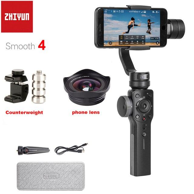 Zhiyun Glatte 4 3 Achse Handheld Smartphone Gimbal Stabilisator Gegengewicht & Weitwinkel Makro Objektiv für iPhone XS Max X 8 7 S9 S8