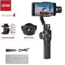 Zhiyun Liscia 4 3 Assi Handheld Smartphone Cardano Stabilizzatore Contrappeso e Ampio Angolo di Obiettivo Macro per iPhone XS Max X 8 7 S9 S8
