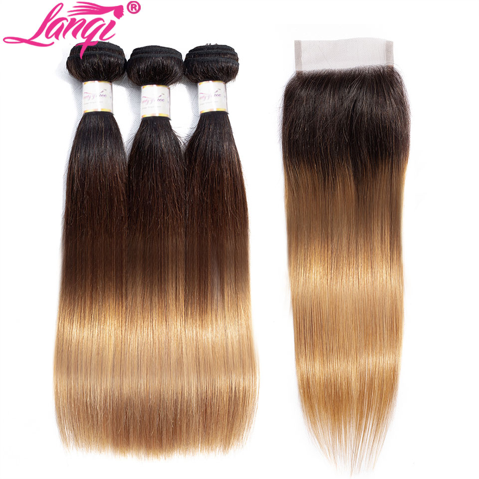 Image 4 - Brazilian Straight human hair weave bundles with closure blonde bundles with closure 1b/4/27 3 tone ombre bundles with closure-in 3/4 Bundles with Closure from Hair Extensions & Wigs